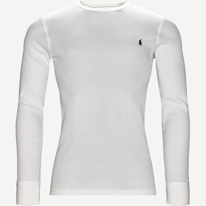 Waffel Crew Neck Long Sleeve - T-shirts - Regular - Hvid